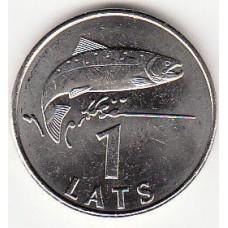1 лат 2008 год. Латвия. Рыба