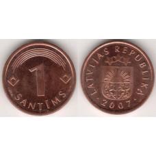 1 сантим 2007 год. Латвия