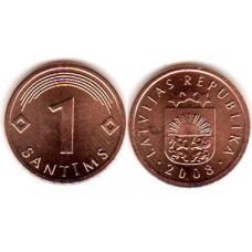 1 сантим 2008 год. Латвия