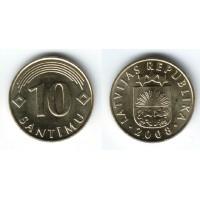 10 сантимов 2008 год. Латвия
