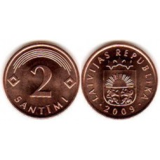 2 сантима 2009 год. Латвия