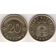 20 сантимов 2009 год. Латвия