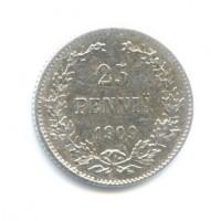 25 пенни 1909 год. Русская Финляндия. L. (Николай II)