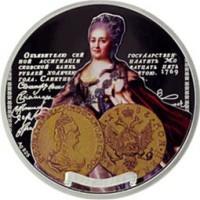 Ниуэ 1 доллар 2012 год. Серия реплики монет Российских императоров. Екатерина II, Серебро