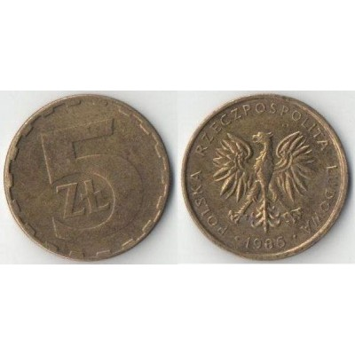 5 злотых 1986 год. Польша.