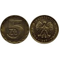 5 злотых 1987 год. Польша.