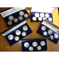 Набор монет СССР 5, 10 рублей, 1977-1980 года. Олимпиада-80. (28 шт.) В оригинальных упаковках. (АЦ)