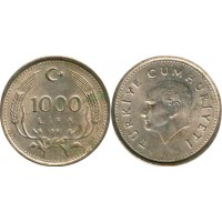 1000 лир 1991 год. Турция.