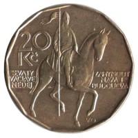 20 крон 2013 год. Чехия. Всадник (Святой Вацлав)