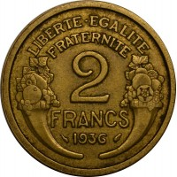 2 франка 1936 год. Франция.