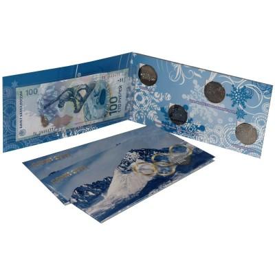 Набор монет 25 рублей 2011-2014 гг. и банкноты 100 рублей Сочи-2014, в альбоме (4 монеты+купюра)