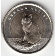 1 лира 2015 год. Турция. Кошка