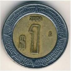 1 песо 2004 год. Мексика