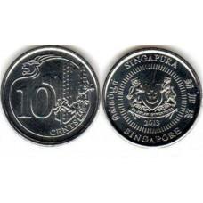 10 центов 2013 год. Сингапур