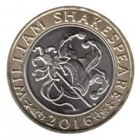 2 фунта 2016 год. Великобритания. 400 лет со дня смерти Уильяма Шекспира. Комедия.