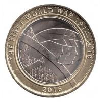 2 фунта 2016 год. Великобритания. Первая Мировая война. Армия Великобритании.