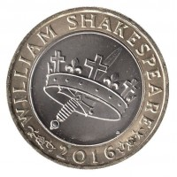 2 фунта 2016 год. Великобритания. 400 лет со дня смерти Уильяма Шекспира. История.