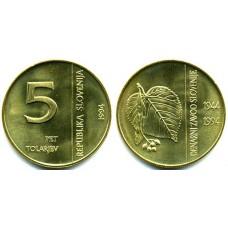 5 толаров 1994 год. Словения. 50 лет банку