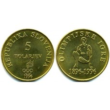 5 толаров 1996 год. Словения. 100-летие Современным Олимпийским играм