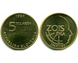 5 толаров 1997 год. Словения. 250 лет со дня рождения Зигмунда Зоиса.