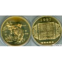 "Китай монетовидный жетон 1997 год серия ""Лунный календарь"" год коровы"
