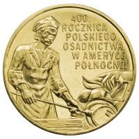 2 злотых 2008 год. Польша. 400-летие польского поселения в Северной Америке.