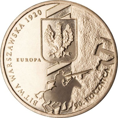 2 злотых 2010 год. Польша. 90-я годовщина Варшавского сражения