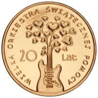 2 злотых 2012 год Польша. 20-летие Большого благотворительного рождественского оркестра.