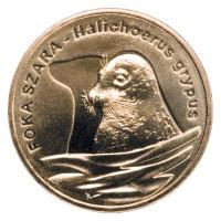 2 злотых 2007 год Польша. Длинномордый тюлень.