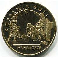 2 злотых 2001 год. Польша. Соляная шахта в Величке.