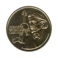 2 злотых 2001 год. Польша. XII Международный конкурс им. Генрика Венявского.