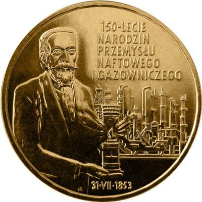 2 злотых 2003 год. Польша. 150-летие нефтяной и газовой промышленности Польши.