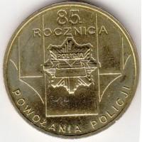 2 злотых 2004 год. Польша. 85 лет полиции Польши.