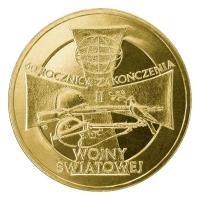 2 злотых 2005 год Польша. 60-я годовщина окончания Второй Мировой войны.