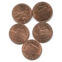 Набор монет 1 цент 2009-2010 гг. США. 200-лет со дня рождения Авраама Линкольна.