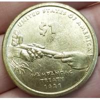 1 доллар 2011 год. США. Сакагавея. Трубка мира (D)