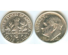 США. 1 дайм 1960 год. Серебро