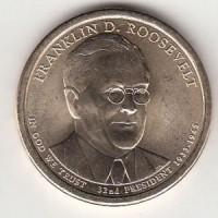 1 доллар 2014 год. США. Франклин Рузвельт. 32-й президент (P)