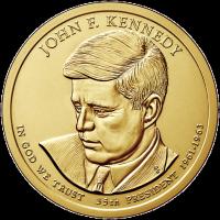 1 доллар 2015 год. США. Джон Фицжеральд Кеннеди. 35-й президент (D)