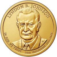 1 доллар 2015 год. США. 36-й президент Линдон Джонсон. (Р)