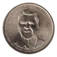 1 доллар 2016 год. США. 40-й президент Рональд Рейган. (D)