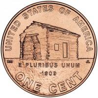 1 цент 2009 год. США. Дом Линкольна, двор P