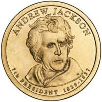 1 доллар 2008 год. США. Эндрю Джексон. 7-й президент (D)