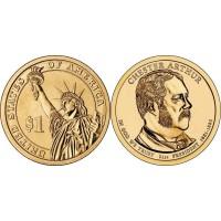 21-й президент США 1 Доллар 2012 - Честер Артур ( двор Р)