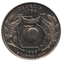 25 центов 1999 год. США. Джорджия. (D)