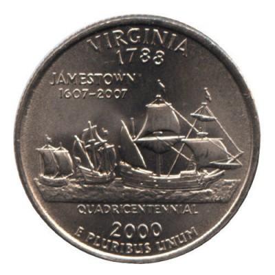 25 центов 2000 год. США. Виргиния. (D)