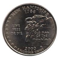 25 центов 2000 год. США. Нью-Гэмпшир. (D)