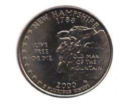 25 центов 2000 год. США. Нью-Гэмпшир. (P)