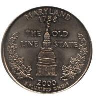 25 центов 2000 год. США. Мэрилэнд. (D)