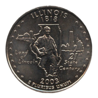25 центов 2003 год. США. Иллинойс. (D)